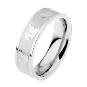 Šperky eshop - Obrúčka z ocele 316L s matným stredom, lesklé veveričky, 6 mm H5.19 - Veľkosť: 54 mm