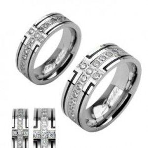 Šperky eshop - Oceľová obrúčka s dvoma čiernymi pruhmi a jedným zirkónovým D3.7 - Veľkosť: 60 mm