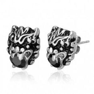 Šperky eshop - Oceľové náušnice - čínske znamenie draka, zirkón K9.19