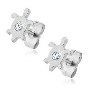 Šperky eshop - Oceľové náušnice - korytnačka so zirkónom J13.5