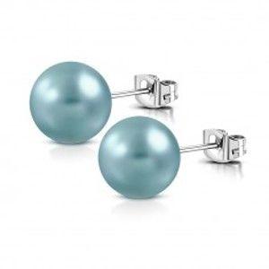 Šperky eshop - Oceľové náušnice - syntetická perlička tyrkysovej farby, puzetové zapínanie AA5.18