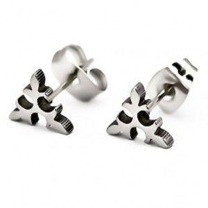 Šperky eshop - Oceľové náušnice - vetvička, trojlist, strieborný odtieň J14.3