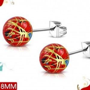 Šperky eshop - Oceľové náušnice, červené akrylové guličky s farebnými líniami a škvrnami AA13.28
