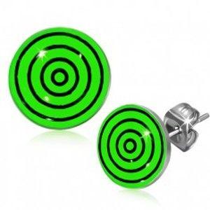 Šperky eshop - Oceľové náušnice, čierne a zelené kružnice pod glazúrou S21.13