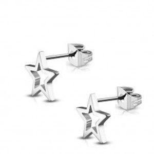 Šperky eshop - Oceľové náušnice lesklej striebornej farby, obrys hviezdy AB25.26