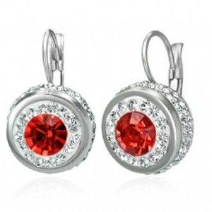 Šperky eshop - Oceľové náušnice s červeným zirkónom a malými zirkónikmi po obvode X03.11
