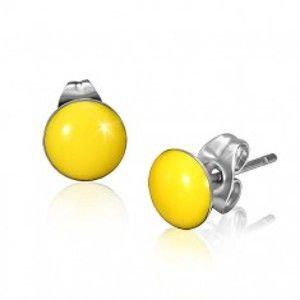 Šperky eshop - Oceľové náušnice so žltými vypuklými kruhmi a puzetkami X21.2