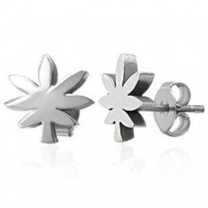 Šperky eshop - Ocelové náušnice striebornej farby - list marihuany X09.05