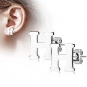 Šperky eshop - Oceľové náušnice striebornej farby - veľké tlačené písmeno H, vysoký lesk AB20.17