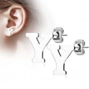Šperky eshop - Oceľové náušnice striebornej farby - veľké tlačené písmeno Y, vysoký lesk AB13.06