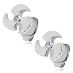 Šperky eshop - Oceľové náušnice striebornej farby - vrhacia čepeľ, číry zirkón X08.02