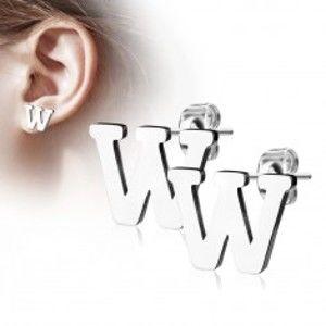 Šperky eshop - Oceľové náušnice v striebornom odtieni - veľké tlačené písmeno W, vysoký lesk AB13.13
