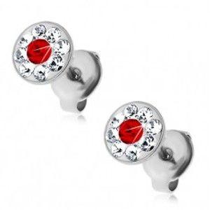Šperky eshop - Oceľové náušnice zdobené krištálikmi Swarovski čírej a červenej farby G23.11
