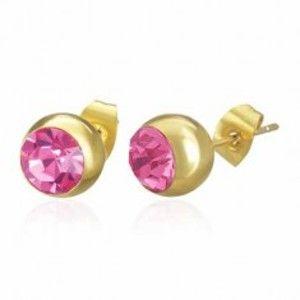 Šperky eshop - Oceľové náušnice zlatej farby, gulička s ružovým zirkónom, puzetka SP48.09