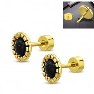 Šperky eshop - Oceľové náušnice zlatej farby, kvet s čierno-bielym stredom, šrubovacie zapínanie SP30.22