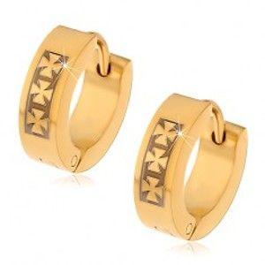Šperky eshop - Oceľové náušnice zlatej farby so vzorom troch maltézskych krížov X15.05