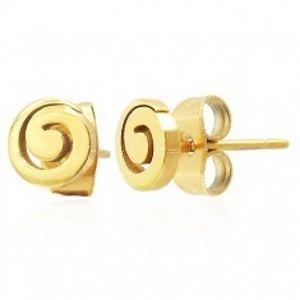 Šperky eshop - Oceľové puzetové náušnice - lesklá špirála zlatej farby X11.16