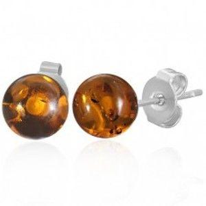 Šperky eshop - Oceľové puzetové náušnice - priehľadné oranžové guličky G20.28