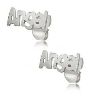 Šperky eshop - Oceľové puzetové náušnice striebornej farby, Angel S49.20