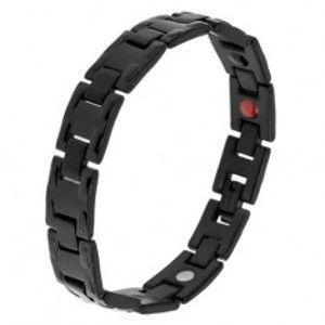 Šperky eshop - Oceľový čierny náramok s lesklými článkami H, matné spoje, magnety SP27.14