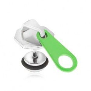 Šperky eshop - Oceľový fake plug do ucha, zips s neónovozeleným jazýčkom PC01.13
