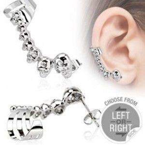 Šperky eshop - Oceľový falošný piercing do ucha, lebky, malé zirkóniky AA22.27 - Tvar: Pravý