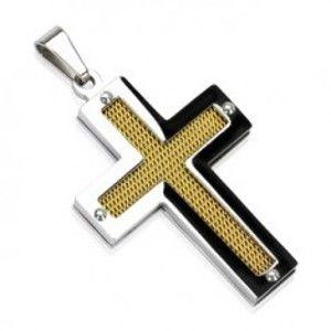Šperky eshop - Oceľový kríž so zlatou sieťkou a nitmi G4.14