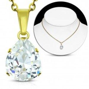 Šperky eshop - Oceľový náhrdelník zlatej farby, číra zirkónová slza, ligotavá retiazka AA13.04