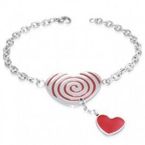 Šperky eshop - Oceľový náramok - červené srdce so špirálou, retiazka U10.20