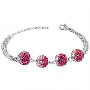 Šperky eshop - Oceľový náramok - guličky s ružovými a bielymi zirkónmi, trojitá retiazka SP83.11