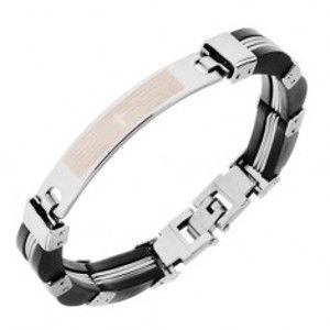 Šperky eshop - Oceľový náramok, články striebornej farby, čierne gumené časti, modlitba S73.14