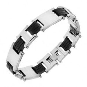 Šperky eshop - Oceľový náramok, články striebornej farby, čierne gumené spoje S70.20