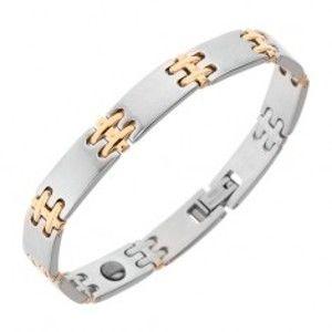 Šperky eshop - Oceľový náramok na ruku, matné články, lesklé H spoje zlatej farby, magnety SP16.11