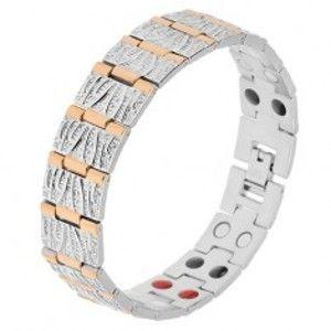 Šperky eshop - Oceľový náramok striebornej a zlatej farby, dekoratívne zárezy, magnety SP21.04