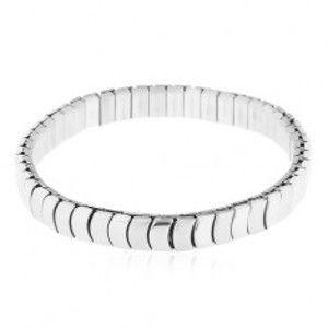 Šperky eshop - Oceľový náramok striebornej farby - rozťahovací, lesklé a matné oblé články Y19.03