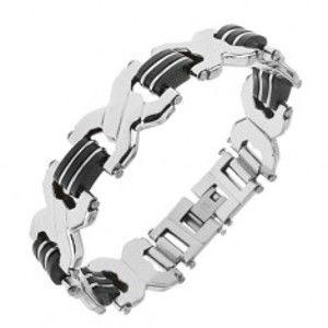 """Šperky eshop - Oceľový náramok striebornej farby, články """"X"""", čierne gumené spoje S75.08"""