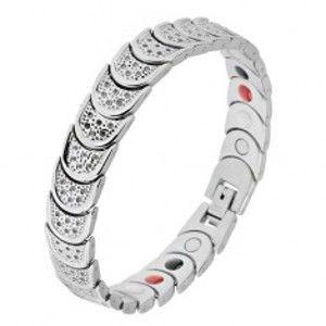 Šperky eshop - Oceľový náramok striebornej farby, polkruhy, motív guličiek, magnety SP23.16
