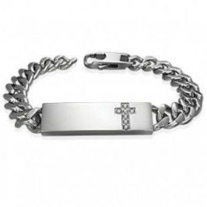 Šperky eshop - Oceľový náramok v štýle hodiniek s čírym zirkónovým krížom na platničke P7.9
