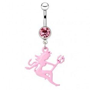 Šperky eshop - Oceľový piercing do bruška - farebná sediaca diablica s vidlami AA18.02 - Farba zirkónu: Ružová - P