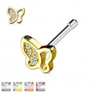 Šperky eshop - Oceľový piercing do nosa, motýlik so vsadenými trblietavými zirkónikmi W03.36/39 - Farba piercing: Strieborná - číra