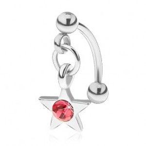 Šperky eshop - Oceľový piercing do obočia, päťcípa hviezdička s ružovým zirkónom PC17.40