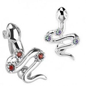 Šperky eshop - Oceľový piercing do pupka - had s tromi farebnými zirkónmi S70.13/15 - Farba zirkónu: Dúhová - AB