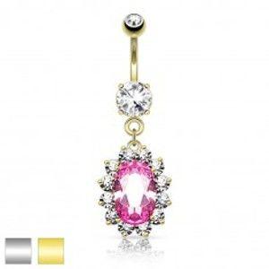 Šperky eshop - Oceľový piercing do pupka, ružový zirkónový ovál, číry ligotavý lem R46.26 - Farba piercing: Zlatá
