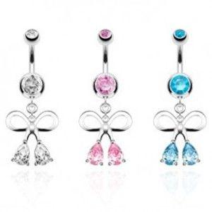 Šperky eshop - Oceľový piercing do pupka, strieborná farba, kontúra mašle, zirkónové kvapky SP46.29 - Farba zirkónu: Aqua modrá - Q
