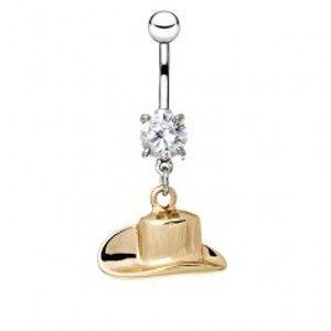 Šperky eshop - Oceľový piercing do pupku - kovbojský klobúk v zlatej farbe AA21.08