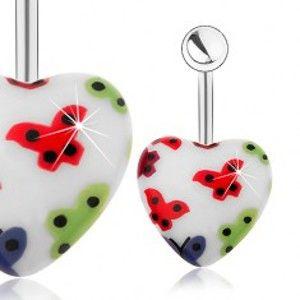 Šperky eshop - Oceľový piercing do pupku, akrylové srdce - biely podklad, farebné motýliky SP25.27
