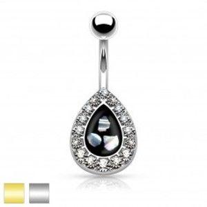 Šperky eshop - Oceľový piercing do pupku, čierna kvapka s kúskami perlete, lemovaná zirkónmi AB32.22 - Farba piercing: Zlatá