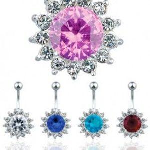 Šperky eshop - Oceľový piercing do pupku, farebný zirkónový kvet S70.16/19 - Farba zirkónu: Číra - C