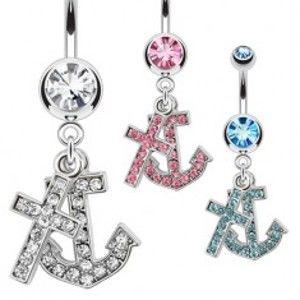 Šperky eshop - Oceľový piercing do pupku s príveskom kotvy a kríža, zirkóny AA14.04 - Farba zirkónu: Číra - C