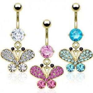 Šperky eshop - Oceľový piercing do pupku v zlatej farbe, zirkónový motýľ, čierne konce tykadiel  PC23.05 - Farba zirkónu: Číra - C